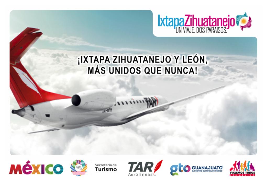 Conecta TAR con vuelo directoAl bajío con Ixtapa Zihuatanejo