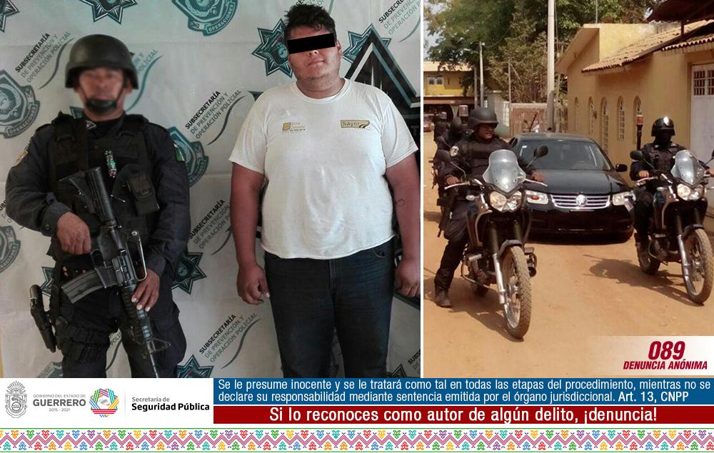 Aseguran policías estatales en Zihuatanejo a una persona en posesión de un vehículo con reporte de robo