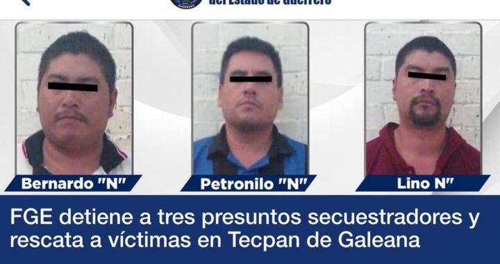 Capturan a tres presuntos secuestradores y se rescata a víctimas