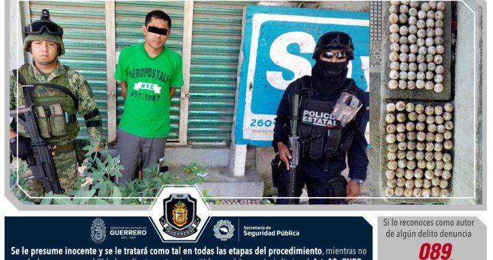 POLICÍA ESTATAL Y EJÉRCITO MEXICANO ASEGURARON EN ACAPULCO A UN MASCULINO EN POSESIÓN DE 130 HUEVOS DE TORTUGA MARINA