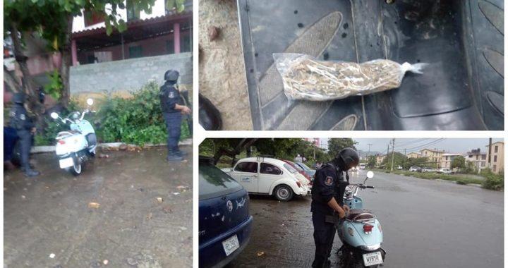 POLICÍAS ESTATALES ASEGURARON EN ZIHUATANEJO UNA MOTONETA CON REPORTE DE ROBO Y PROBABLE MARIHUANA