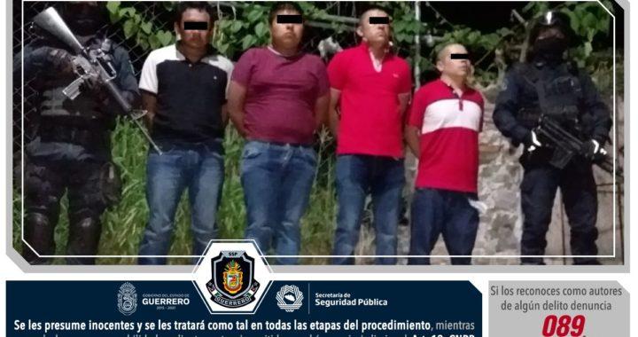 DETIENE POLICÍA ESTATAL A 4 PERSONAS EN CHILAPA CON ARMAS DE USO EXCLUSIVO DEL EJÉRCITO