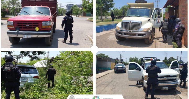 ASEGURA POLICÍA ESTATAL EN PETACALCO, MUNICIPIO DE LA UNIÓN, CUATRO VEHÍCULOS, CARTUCHOS ÚTILES, UNIFORMES TIPO MILITAR, EQUIPO TÁCTICO Y PROBABLE MARIHUANA