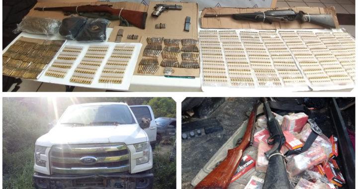 Grupo «Jaguar» asegura vehiculo, armas, cargadores, cartuchos y droga en Petatlan