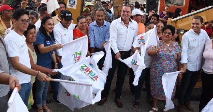 Presidente Jorge Sánchez Allec inicia dignificación de acceso principal de Pantla