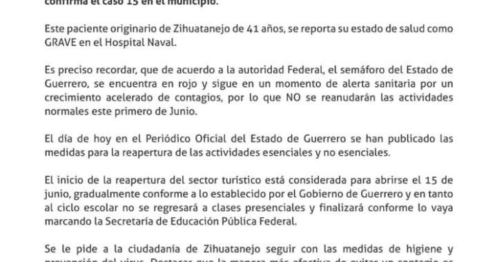 Gobierno de Zihuatanejo reporta el caso 15 de Coronavirus. Ahora un masculino de 41 años que se encuentra grave hospitalizado en hospital Naval.