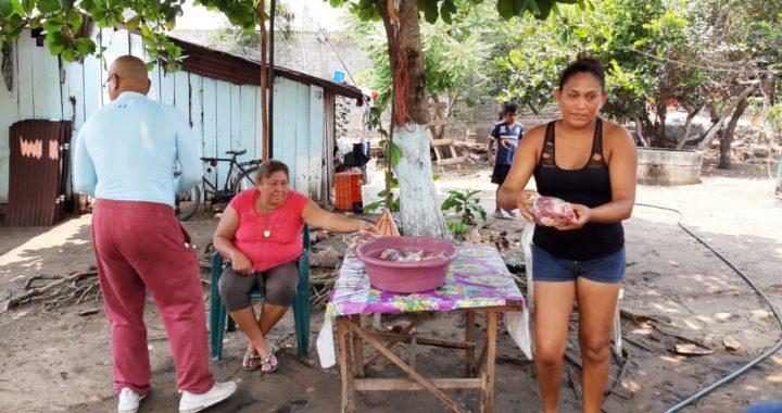 Sacrifican una vaca en El Carrizal y reparten carne gratis a madres de familia