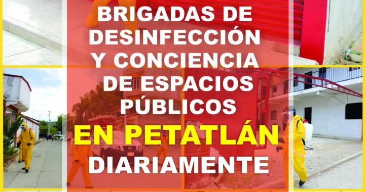 Brigadas de desinfección no paran en Petatlan