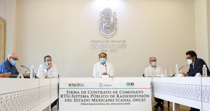 FIRMA EL GOBERNADOR HÉCTOR ASTUDILLO CONVENIO DE COLABORACIÓN Y COMODATO ENTRE RTG Y CANAL ONCE