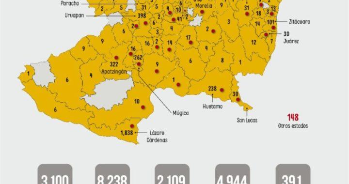 Mueren 16 personas más por COVID-19 en Michoacán; confirman 196 contagios nuevos