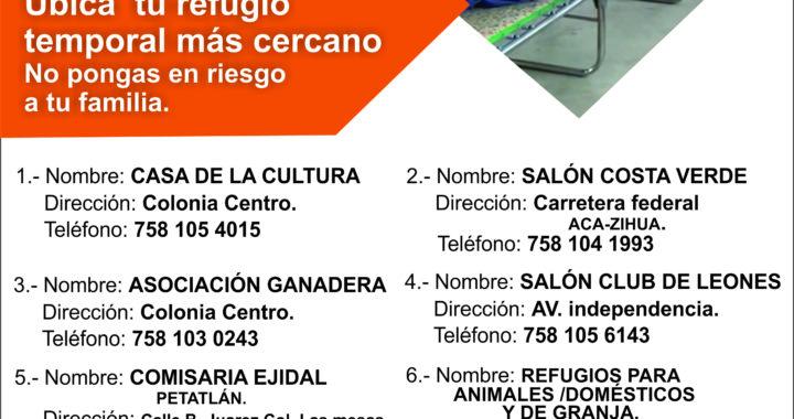 LISTOS REFUGIOS TEMPORALES EN PETATLAN EN CASO DE CONTINGENCIA POR LAS LLUVIAS