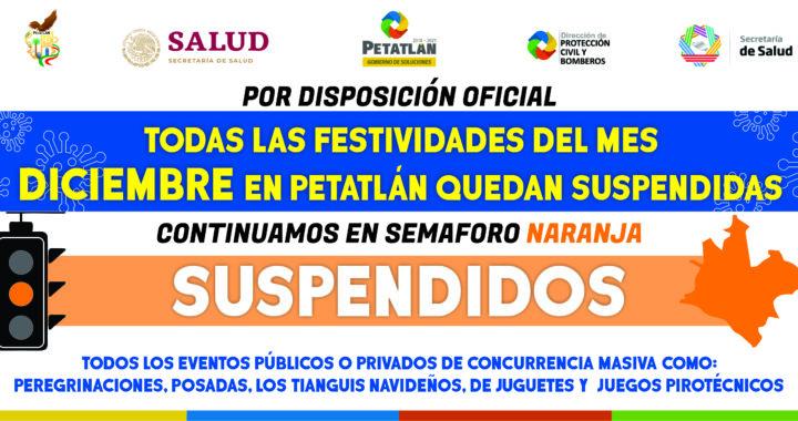 Suspensión en festividades decembrinas en Petatlán