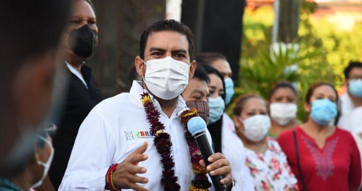 En colonia La Puerta, presidente Jorge Sánchez arranca pavimentación de calle Río Mezcala