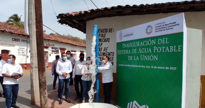 Gobernador Héctor Astudillo y síndico Bany López inauguran obra del Sistema de Agua Potable en cabecera municipal de La Unión
