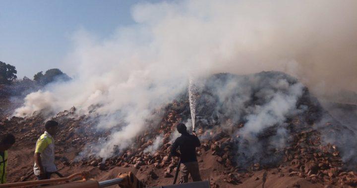 Arde desde la mañana recicladora de cocotero en Llano Real, en Benito Juárez