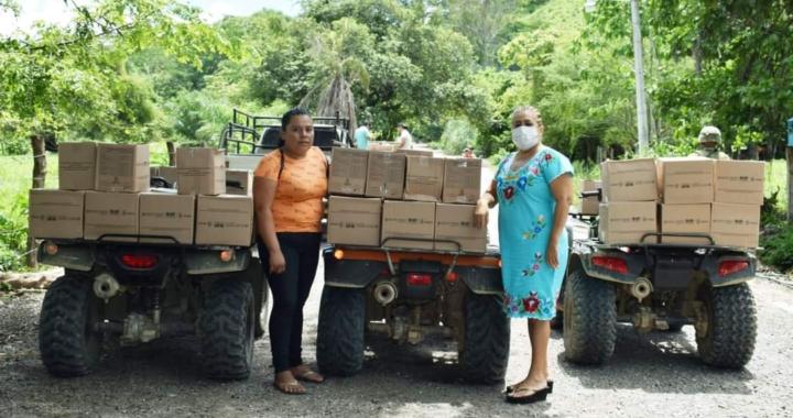 Reciben apoyos alimenticios familias damnificadas por tromba en la sierra de Tecpan